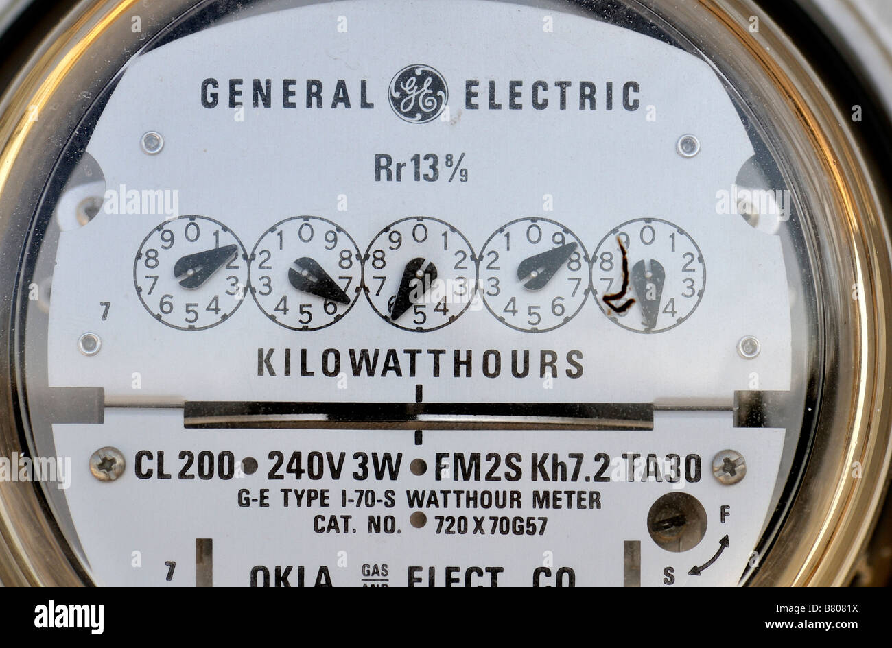 Closeup view of a residential electrical meter. Oklahoma, USA. - Stock Image