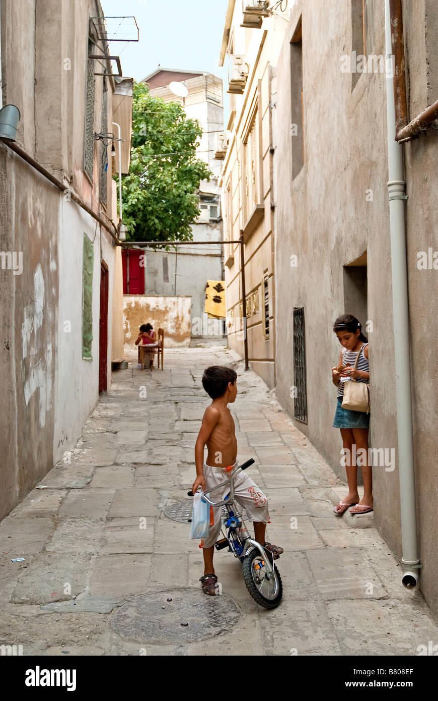 old town street baku azerbaijan - Stock Image