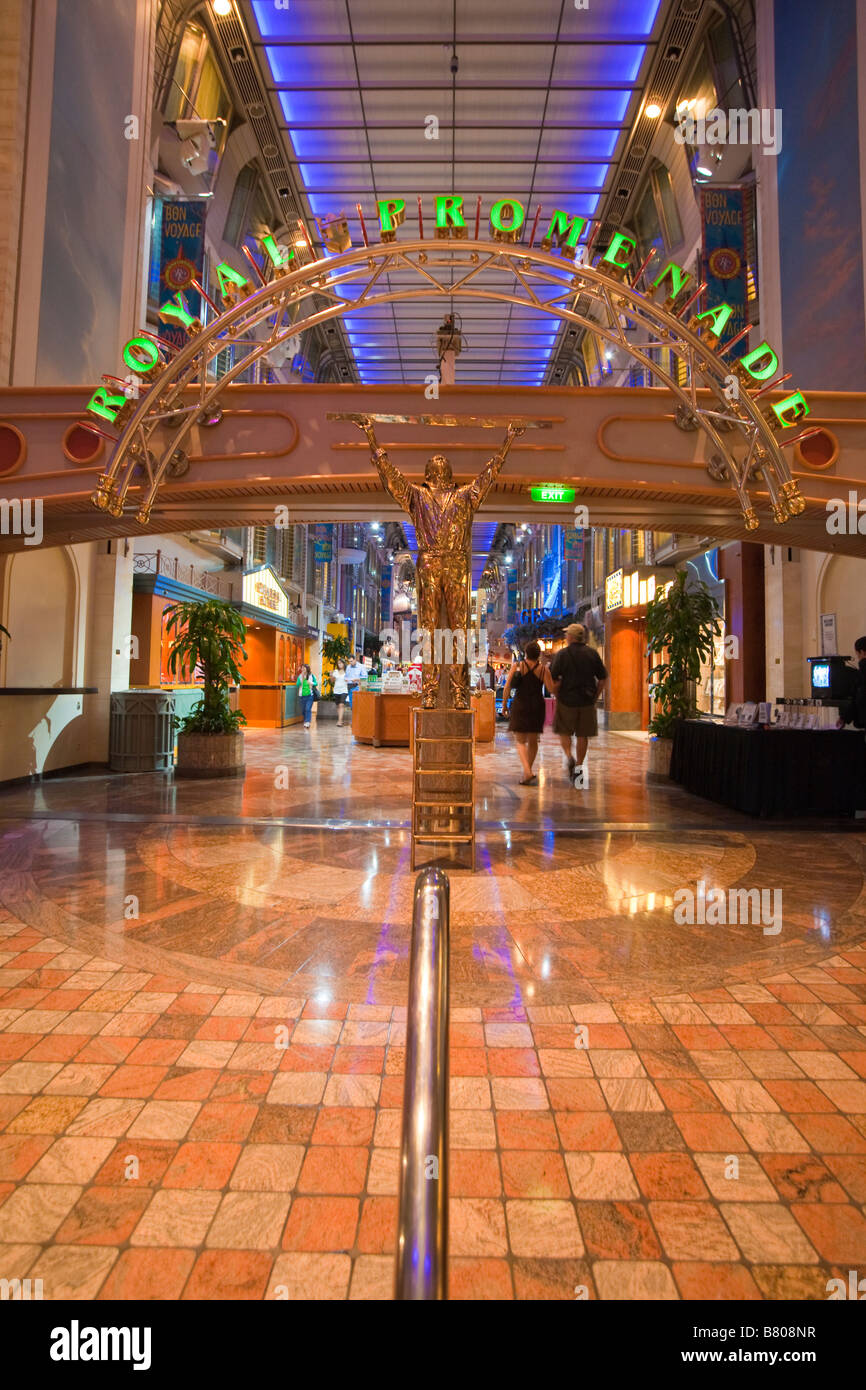 Entrance to the Royal Promenade deck on Royal Caribbean Navigator of the Seas cruise ship - Stock Image