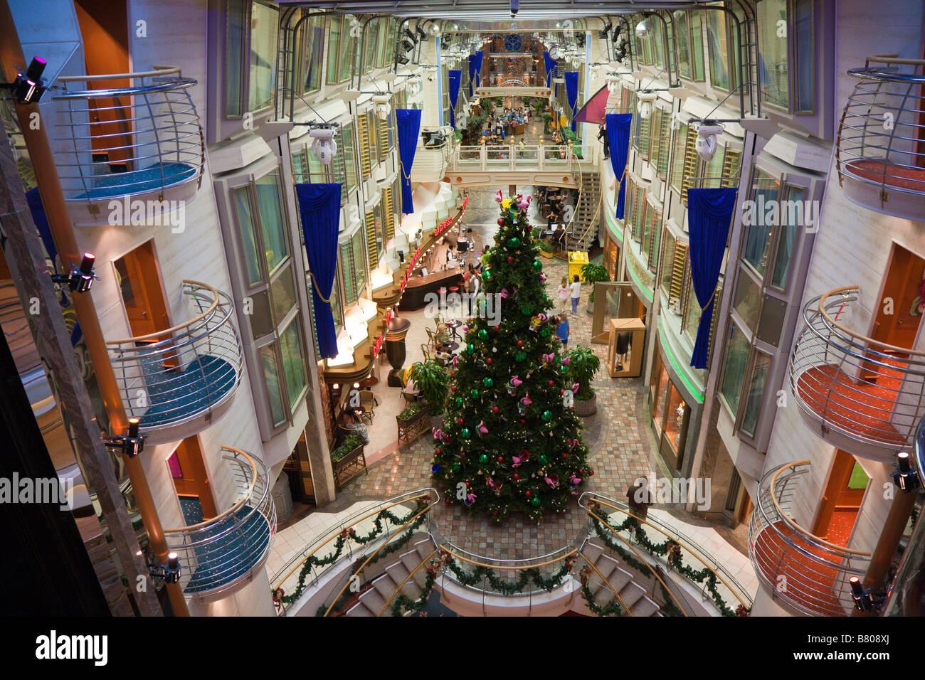 Royal Caribbean Cruise December 2021 Christmas Interior Of The Royal Promenade Deck Of Royal Caribbean Navigator Of The Seas Cruise Ship Stock Photo Alamy