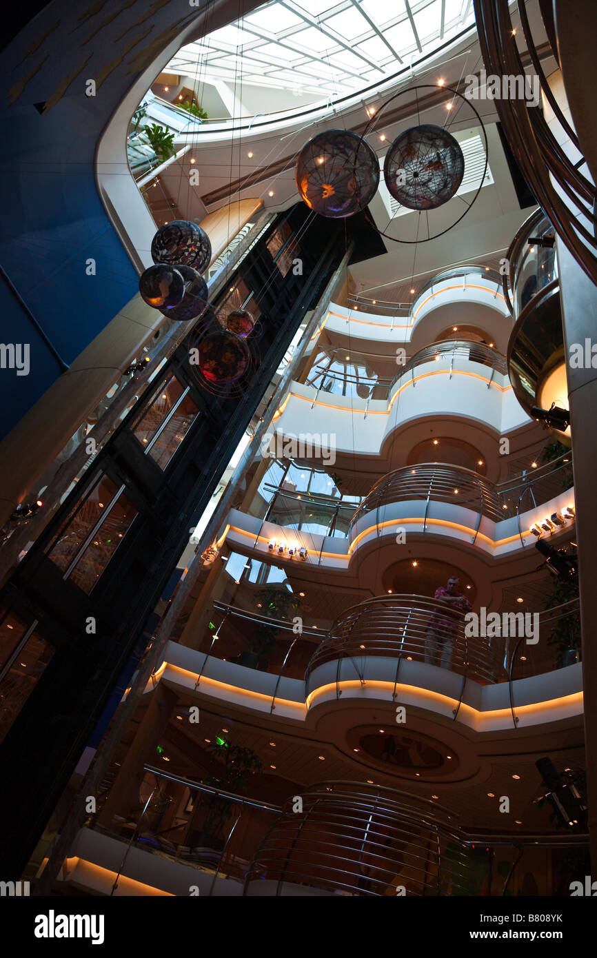 Atrium decorated in a planetary theme on Royal Caribbean Navigator of the Seas cruise ship - Stock Image