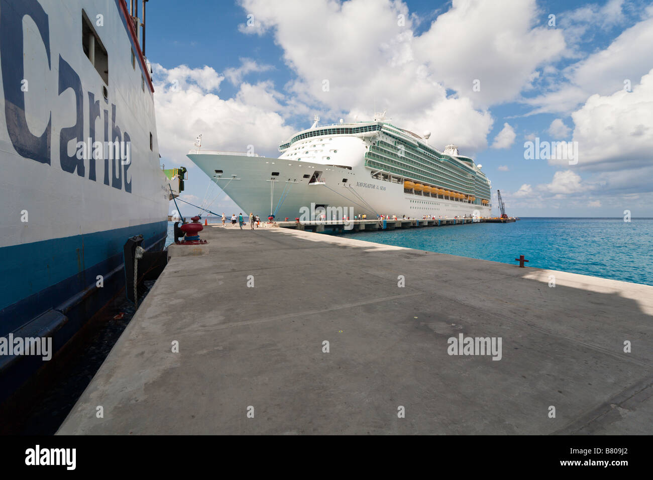 Royal Caribbean Navigator of the Seas cruise ship docked at port in Cozumel, Mexico - Stock Image