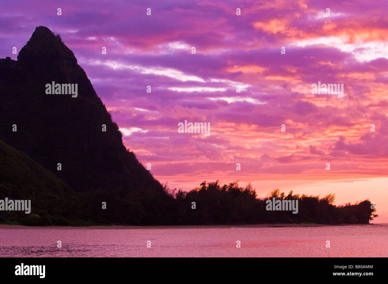 Evening light on spires of the Na Pali Coast at sunset North Shore Island of Kauai Hawaii - Stock Image