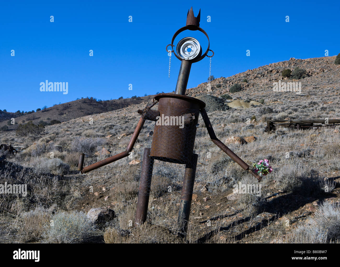 Rusted sculptures made from automobile parts along a hill side south of Virginia City Nevada Stock Photo