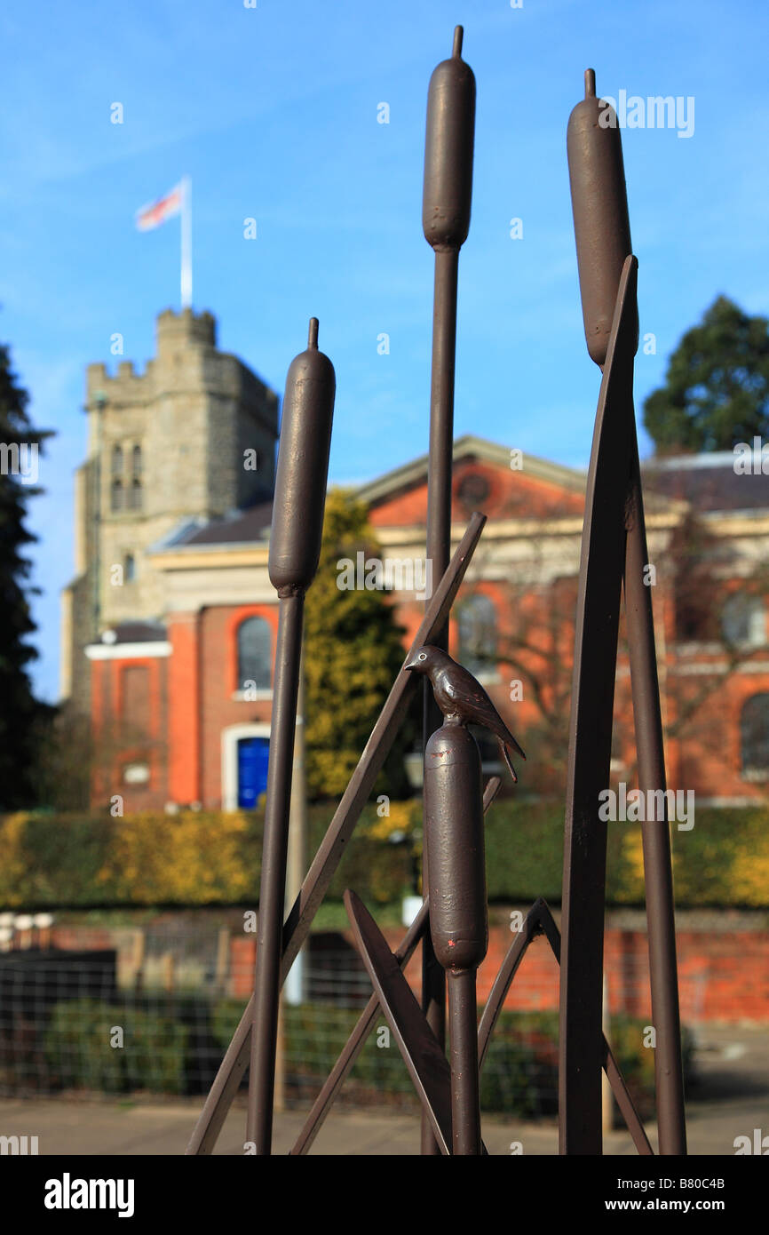 Reeds sculpture and St. Mary the Virgin Church Twickenham Surrey England - Stock Image