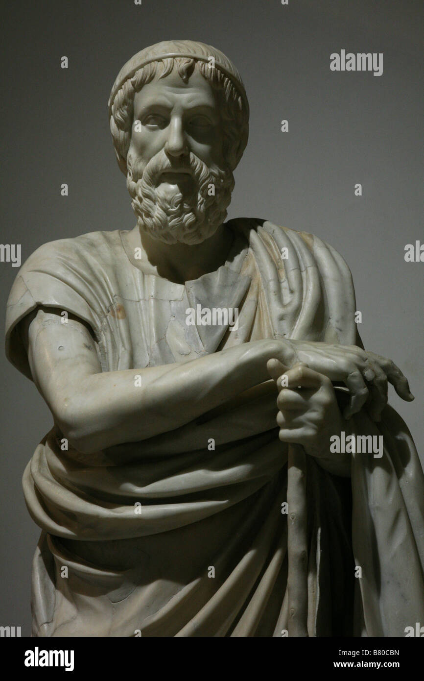 Marble statue of the Philosopher or Homer from Herculaneum in the National Archaeological Museum in Naples, Italy. Stock Photo