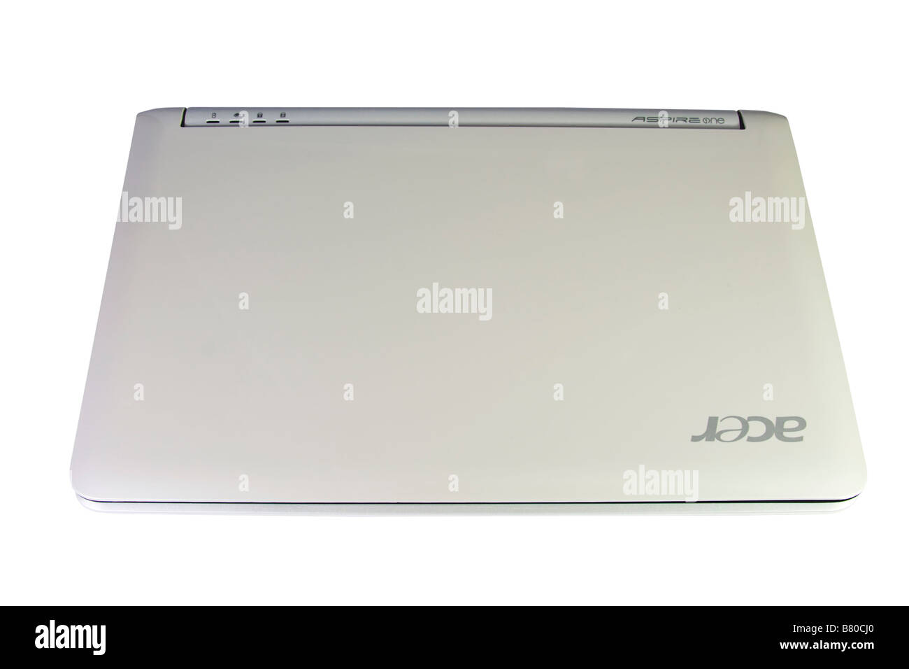 Detail of the small 'EEE' ACER notebook isolated on white. Also called netbook. - Stock Image
