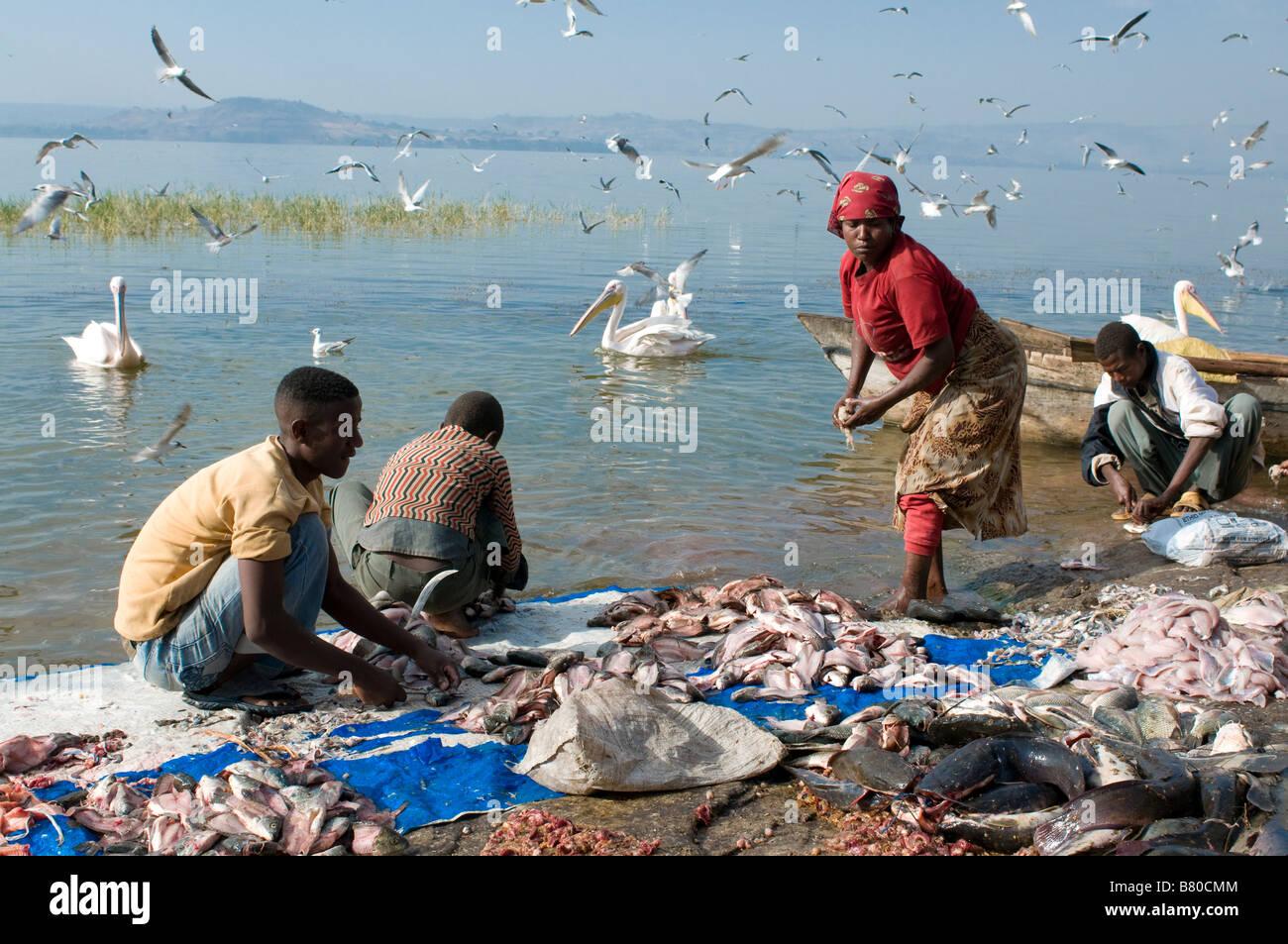Fishermen on lake Awasa Ethiopia Africa - Stock Image