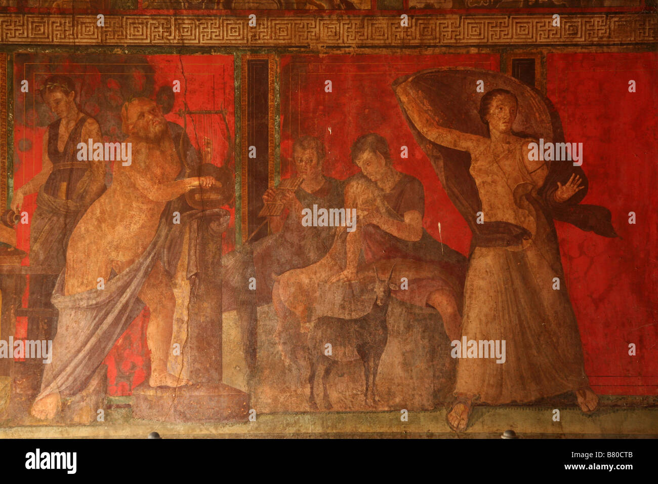 Fresco in the triclinium of the Villa of the Mysteries in Pompeii, Italy. - Stock Image