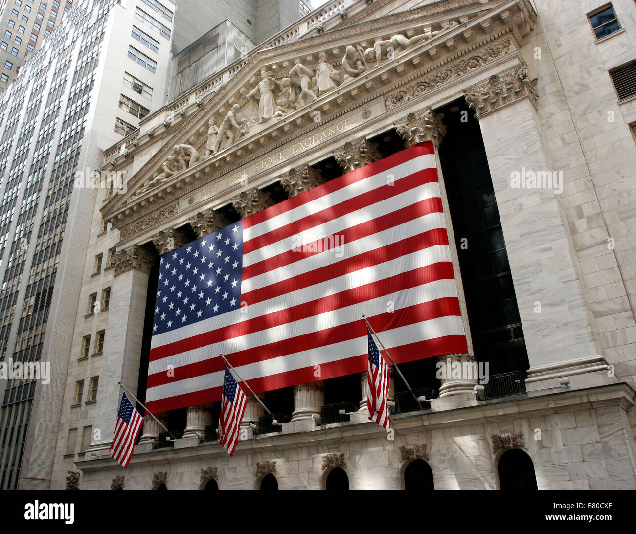 Entrance to the New York stock exchange - Stock Image