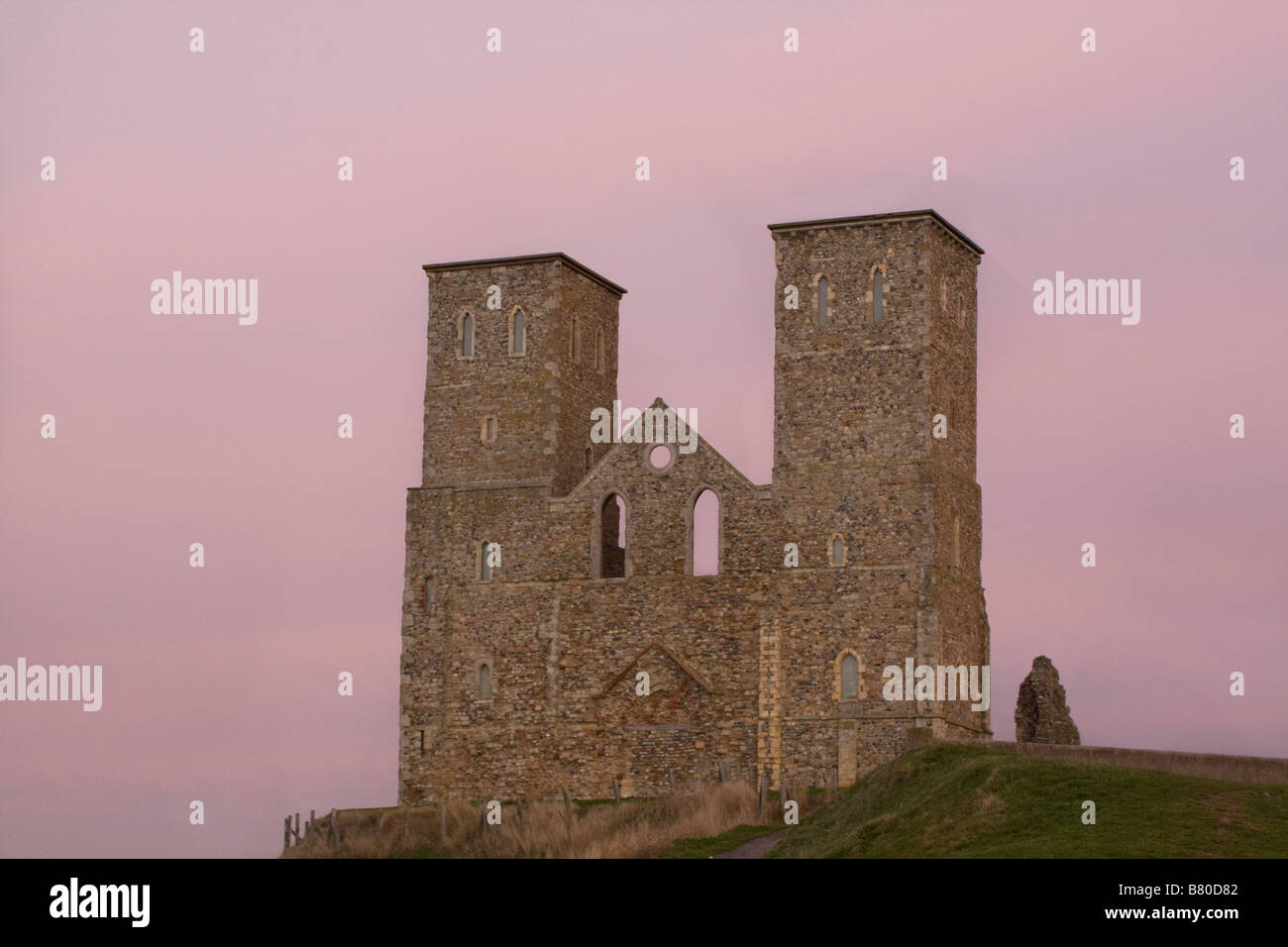 Reculver towers at sunset Stock Photo