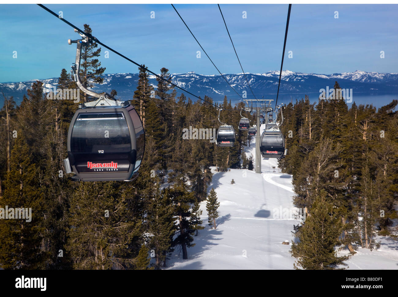 The Gondola at Heavenly takes skiiers and snowboards up the mountain from South Lake Tahoe California Stock Photo