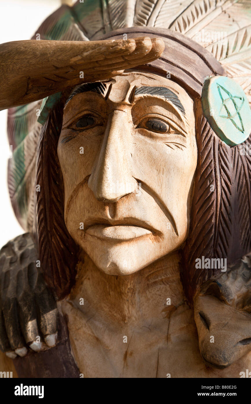 87497a7b Carved wooden statue of American Indian outside tobacco store in The  Villages of Lady Lake,