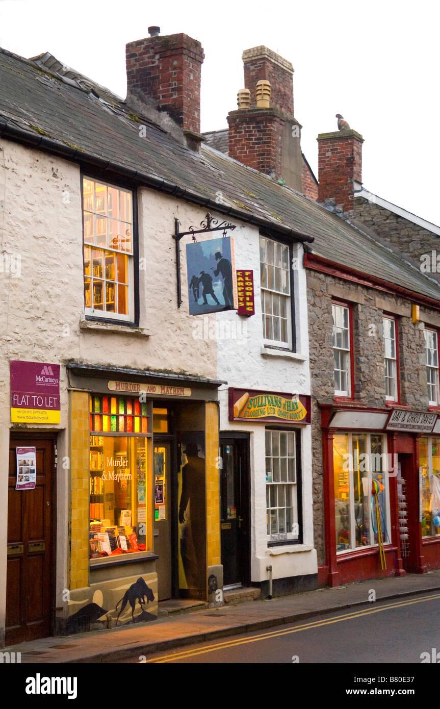 Murder and Mayhem Bookshop Hay on Wye Wales United Kingdom Europe - Stock Image
