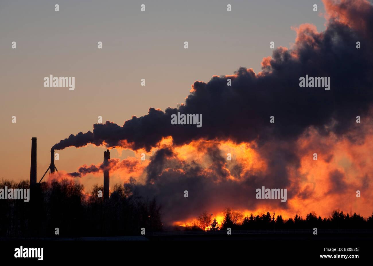 Stora-Enso Nuottasaari paper mill fumes at dawn Oulu  , Finland - Stock Image