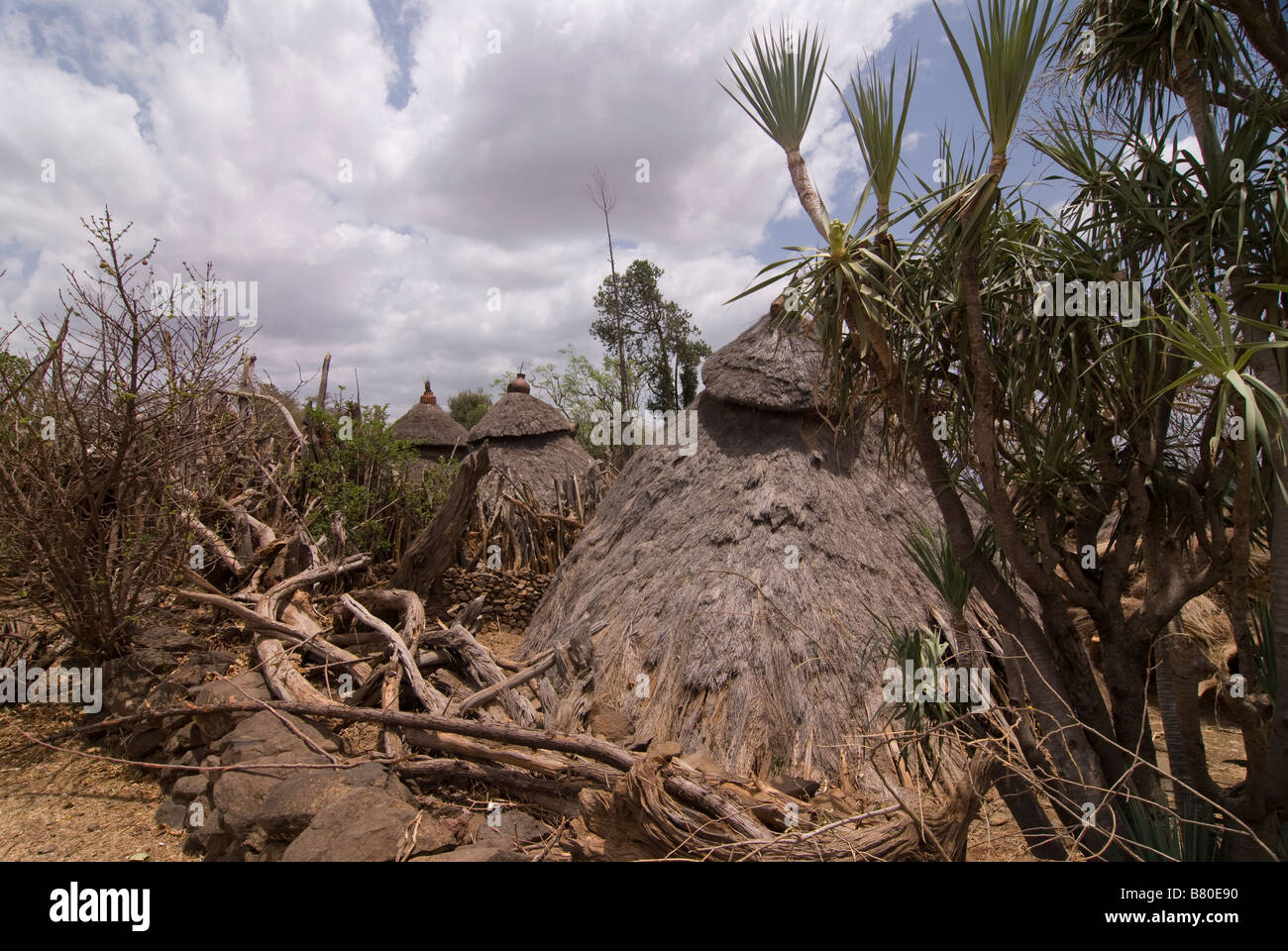 Gezahegne Woldu s Compund holy kraal from the Konso tribe Omovalley Ethiopia Africa - Stock Image