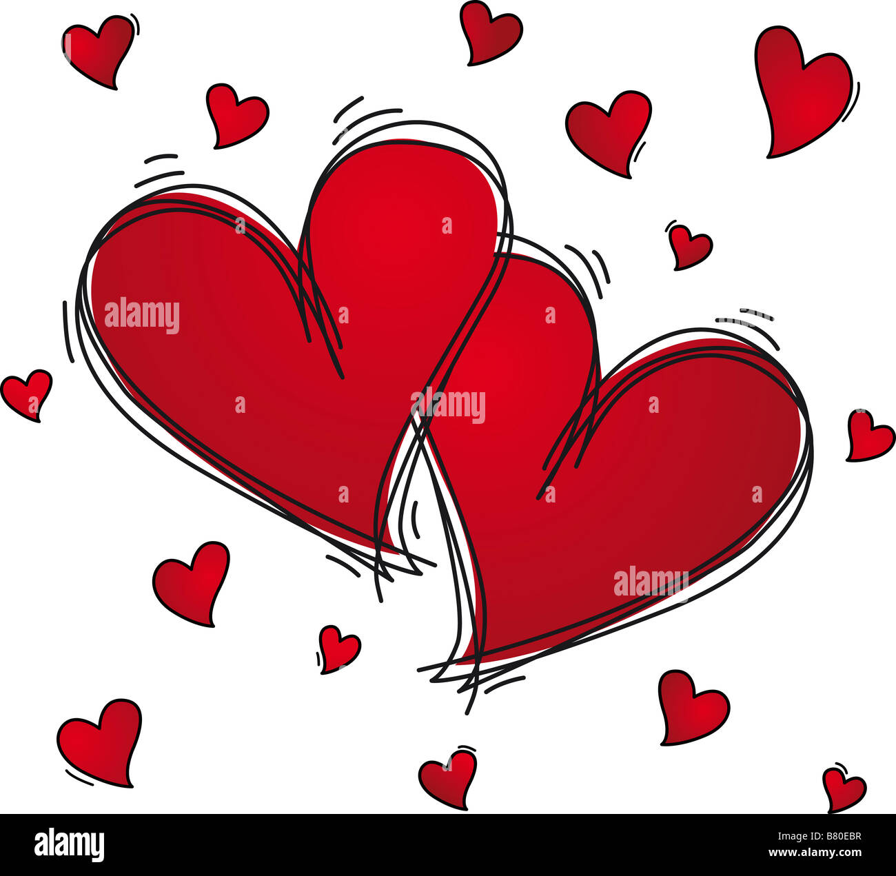 Two hearts sketched - Stock Image