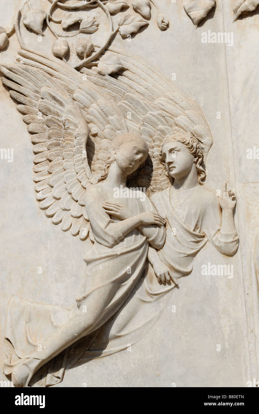 Orvieto Umbria Italy Detail of marble bas reliefs on the facade of the Duomo - Stock Image