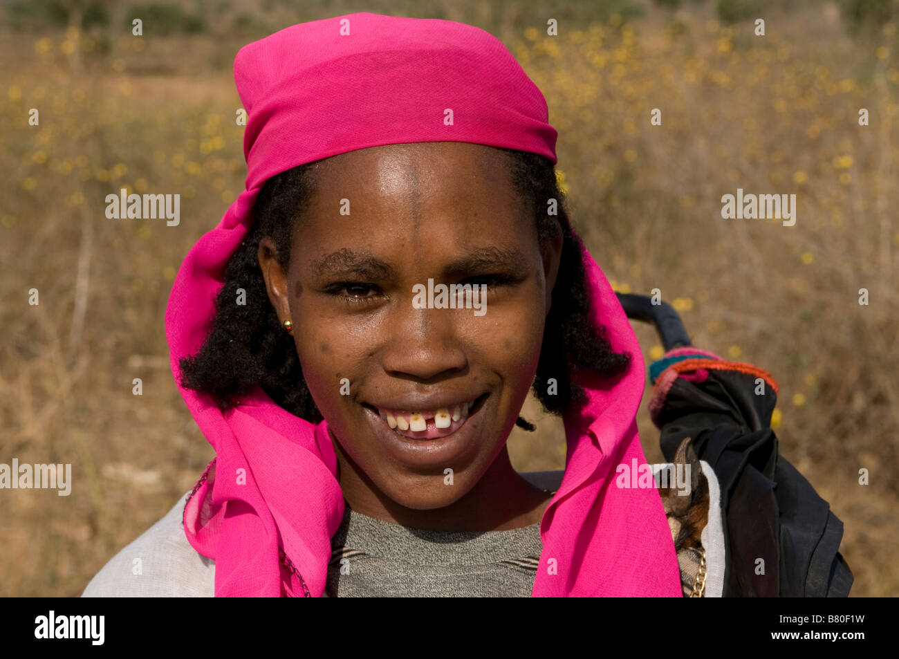 Girl from the Kori tribe smiling Nechisar National Park Ethiopia Africa Stock Photo