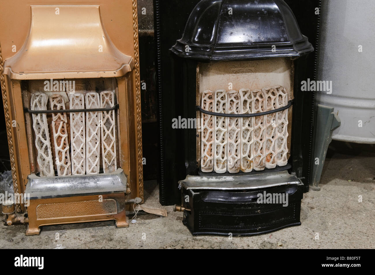 1920s 1930s 1940s gas room heaters in a museum - Stock Image