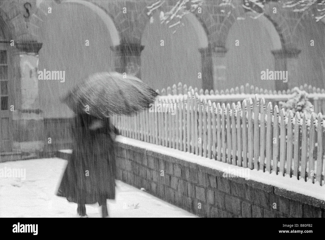Black & white photograph of a woman walking along a fence in a wet snowstorm, carrying an umbrella. - Stock Image