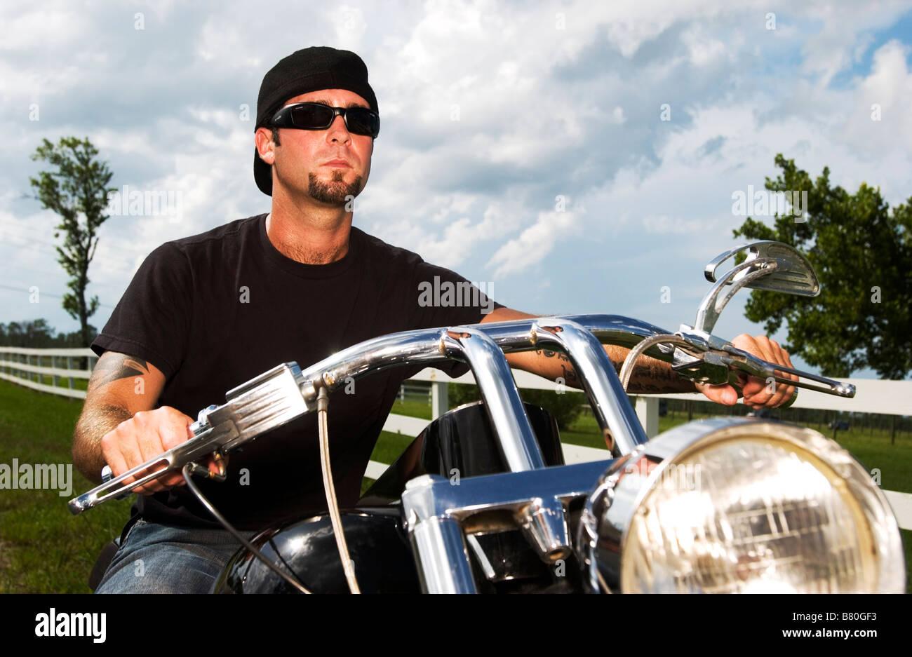 Biker In Cowboy Hat Stock Photos   Biker In Cowboy Hat Stock Images ... 238442c8b95
