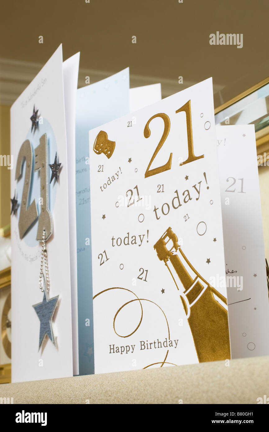 21st Birthday celebration cards - Stock Image