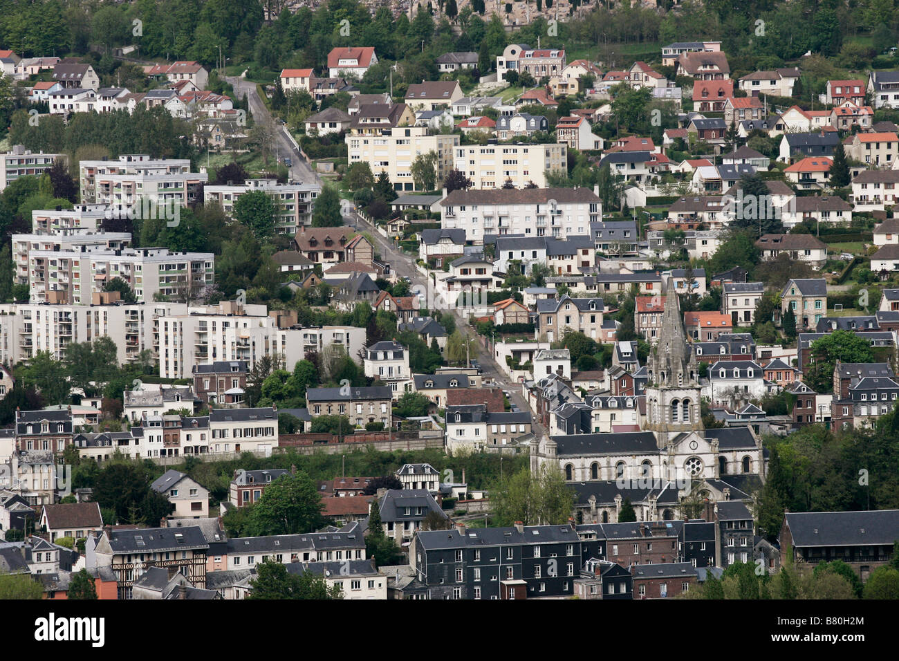 urbane sprawl and over population. An aerial view of Rouen France. - Stock Image