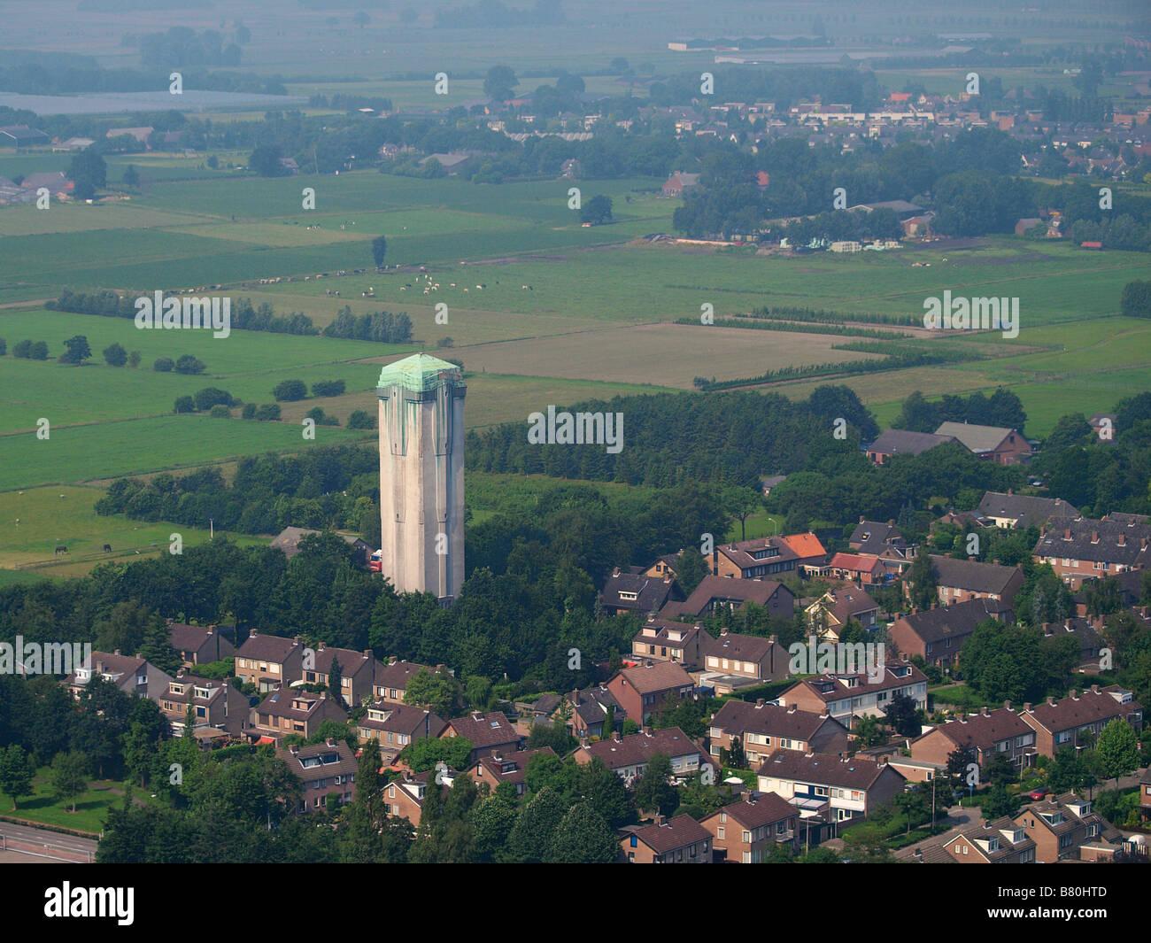 Deco Jugendstil aerial view of water tower in deco jugendstil style noord