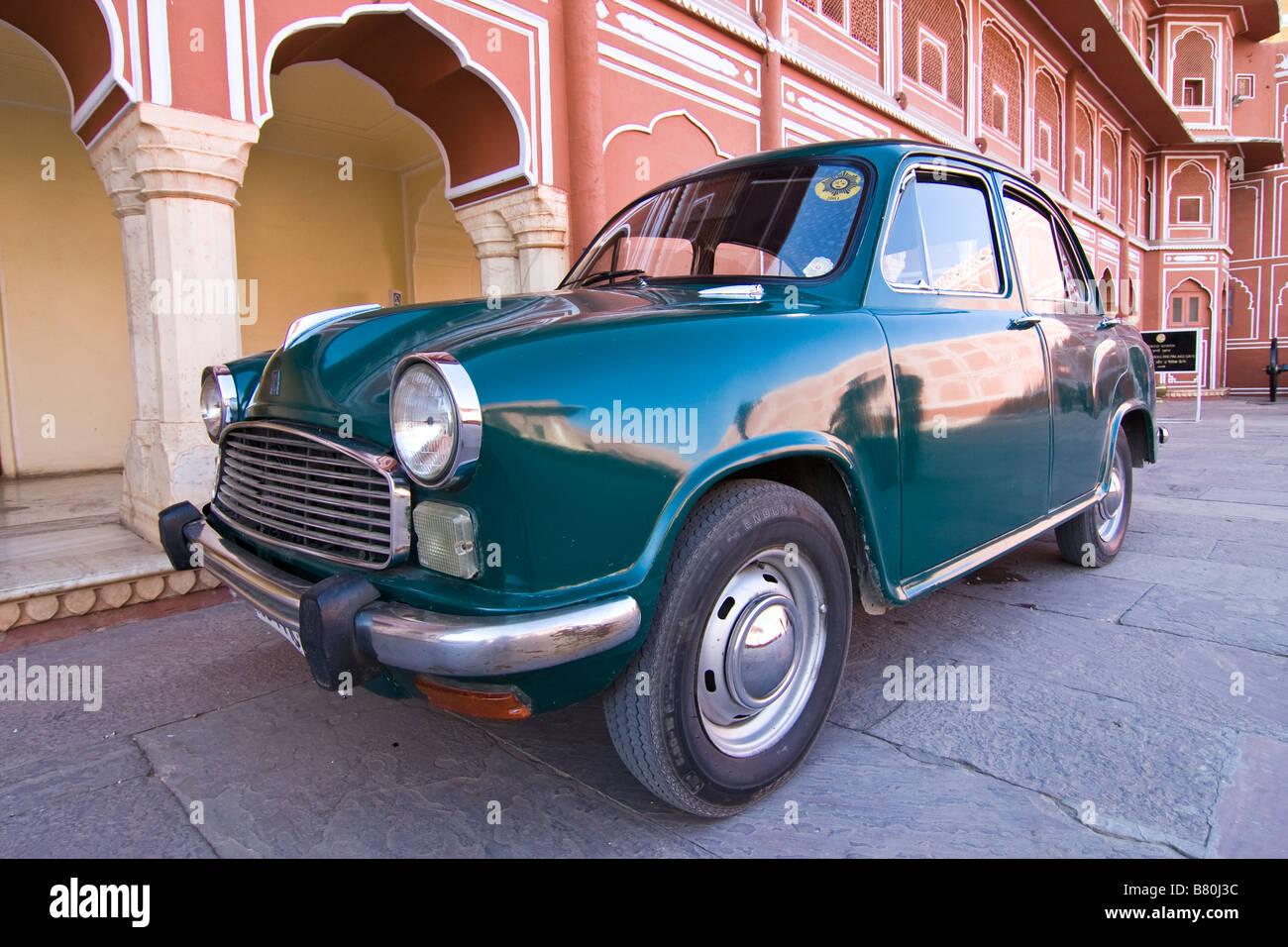 Green Hindustan Motors Ambassador Car, Formerly the Morris Oxford, at the City Palace Museum Jaipur, Rajasthan, - Stock Image