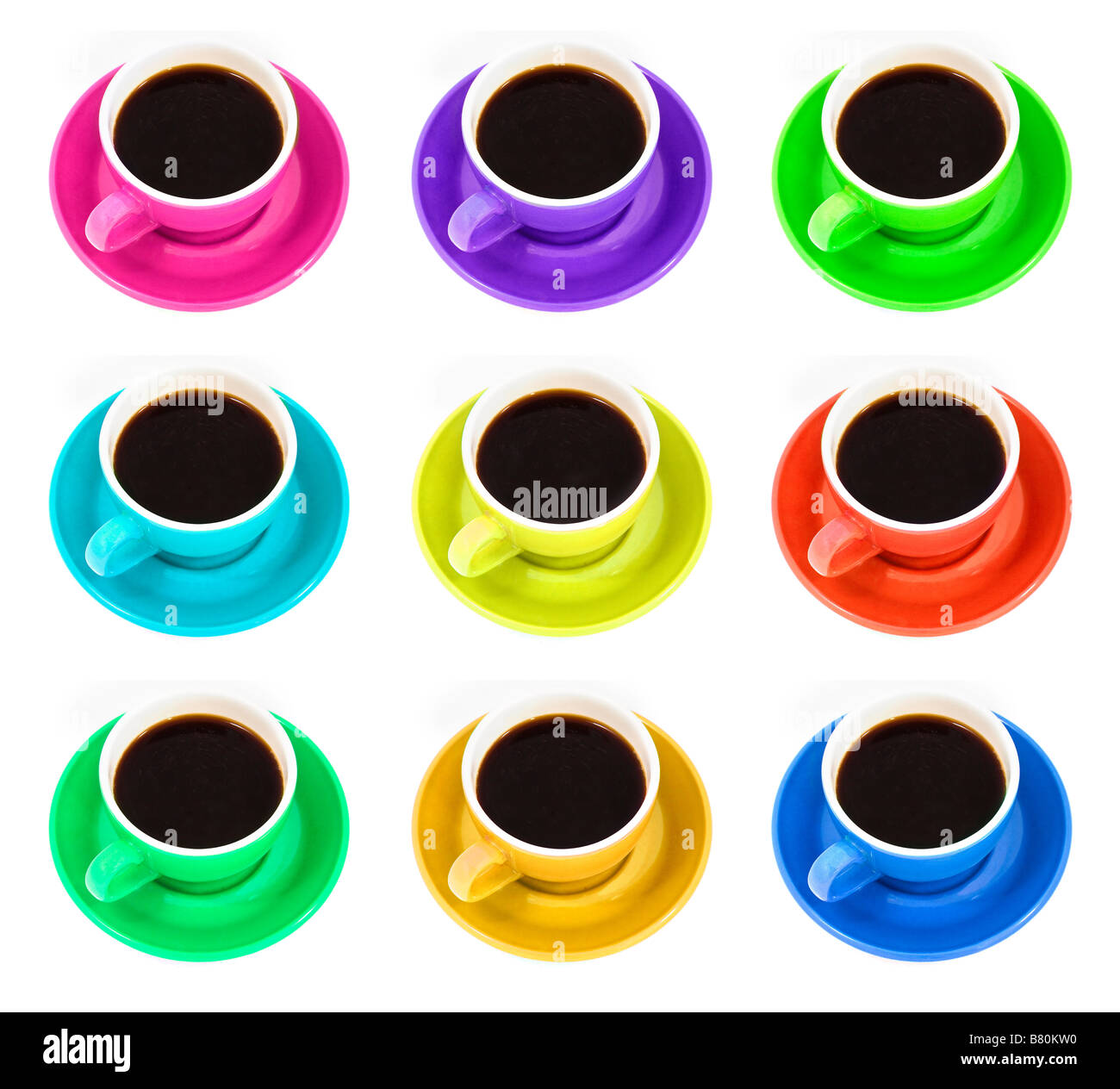 Nine differently coloured coffee cups on a white background - Stock Image