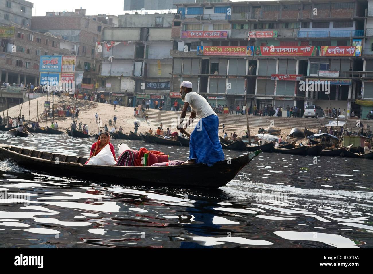 Boat on Buriganga River Bangladesh - Stock Image