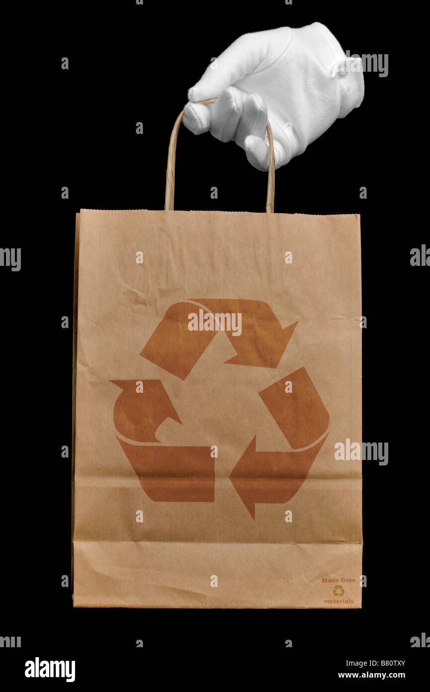 Recycled shopping bag - Stock Image