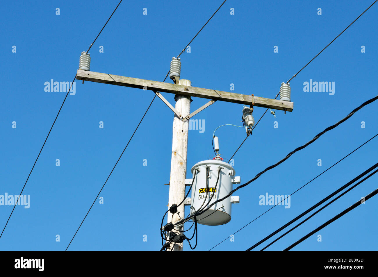 Electric Telephone Stock Photos Images Wiring Sky Box Single Electrical Transformer On Wood Pole Showing Cables And Insulators Against Clear Blue