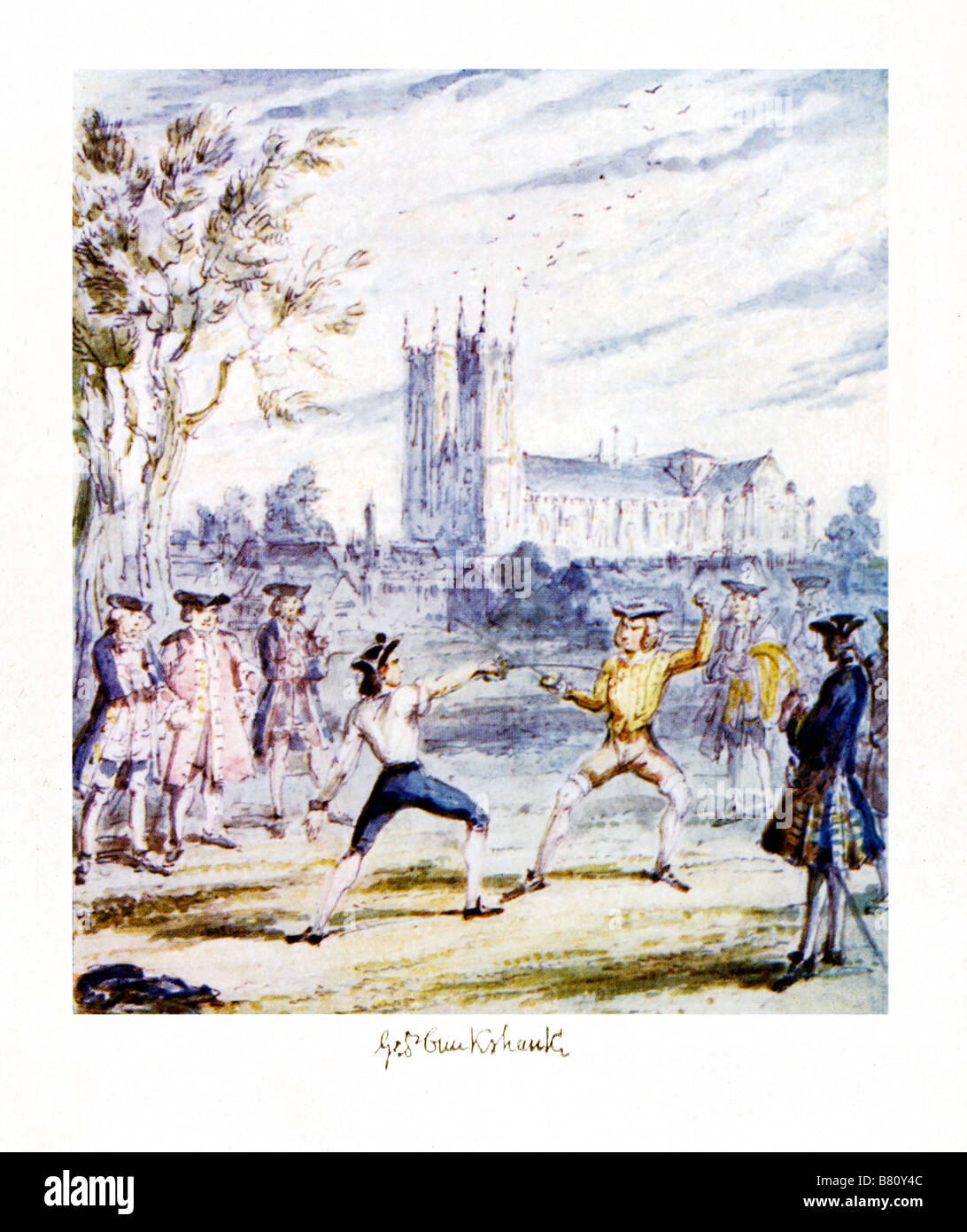 The Duel In Tothill Fields illustration by George Cruikshank for Jacobite Rebellion novel The Misers Daughter by - Stock Image