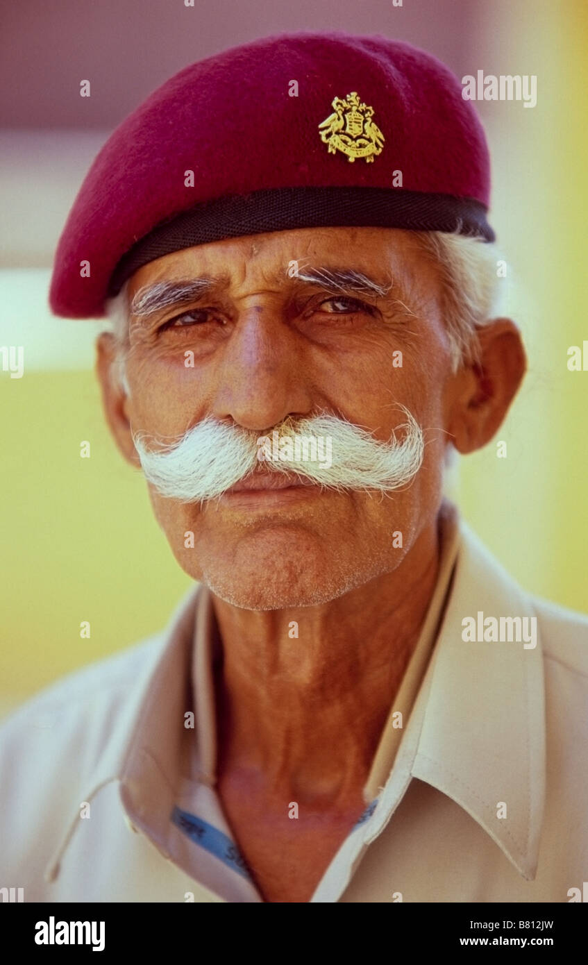 Portrait of palace guard in Jodhpur's Mehrangarh Fort with a huge moustache - Stock Image