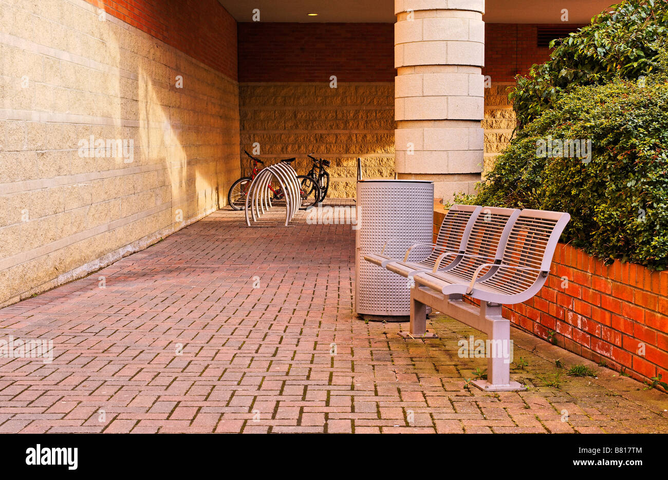 Bicycle parking and street furniture in Newcastle upon-Tyne - Stock Image