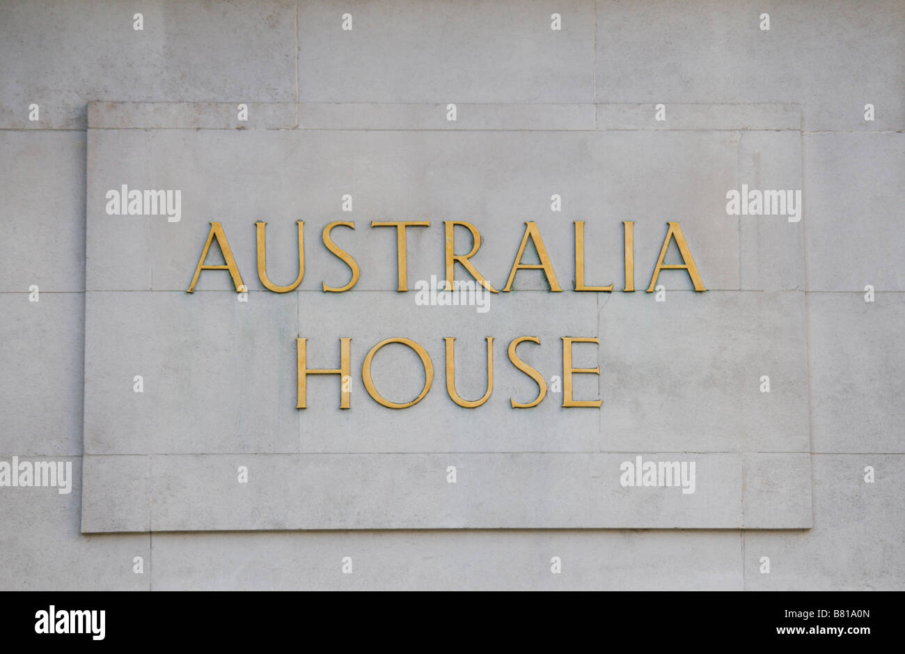 Sign outside the main entrance to the Australian High Commission,Australia House, in the Strand, London. Jan 2009. - Stock Image