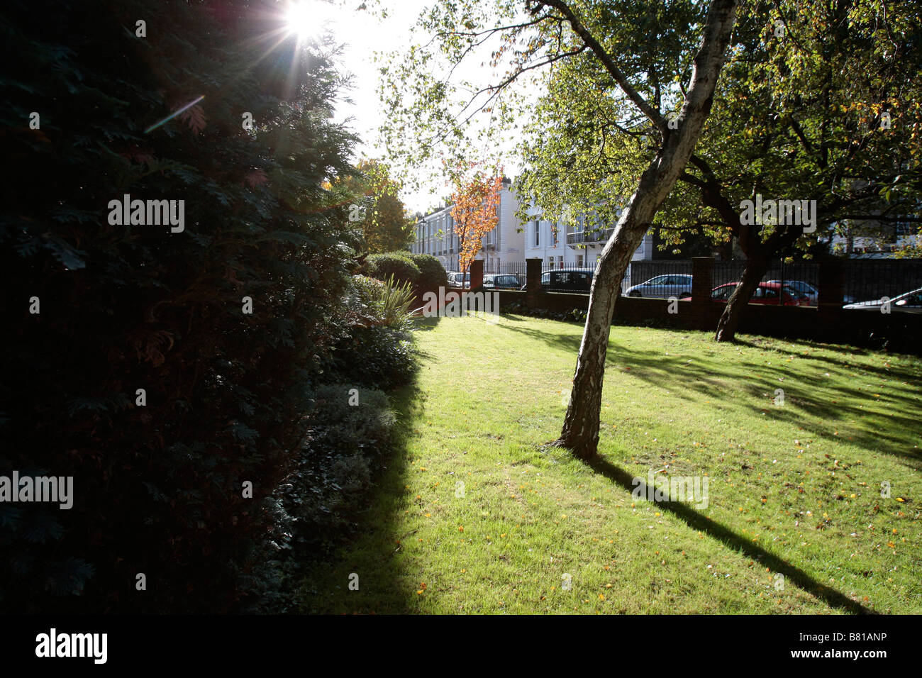 General view of the garden on a London housing estate. - Stock Image