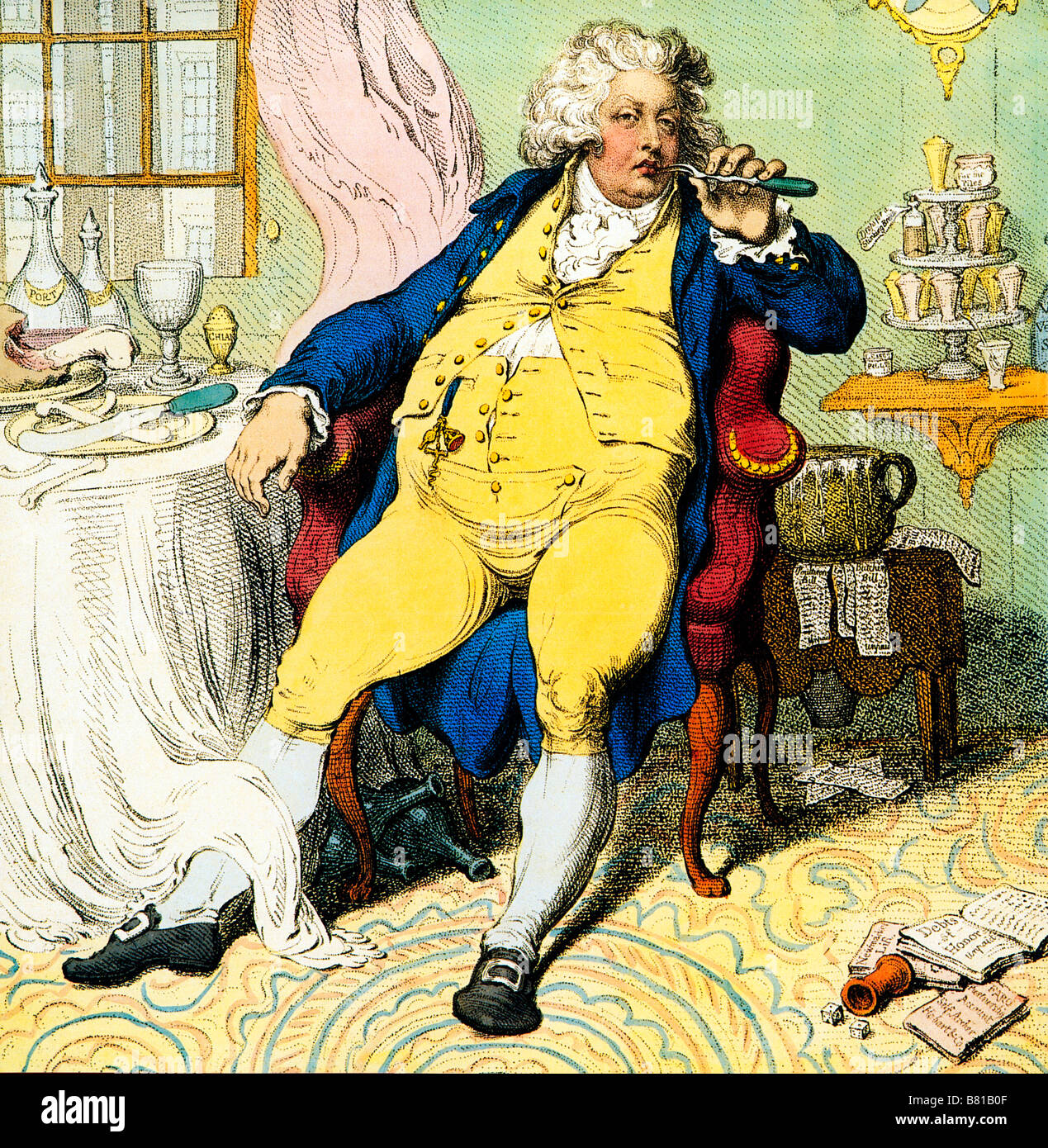 George IV as Prince of Wales 1792 caricature by Gillray of A Voluptuary Under The Horrors Of Digestion - Stock Image
