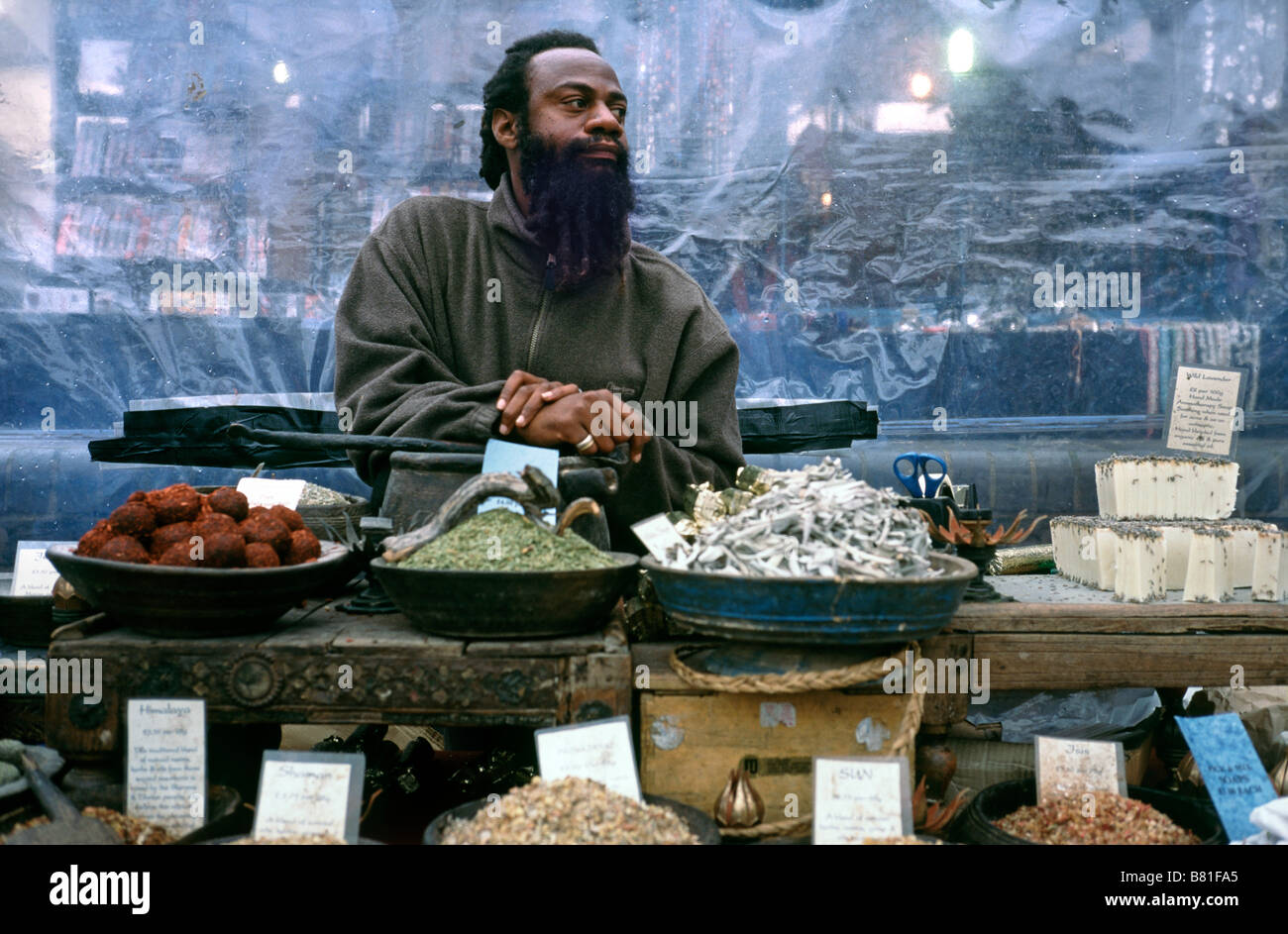 Oct 4, 2003 - Man selling aroma therapy soap at Camden Lock market in the British capital of London. - Stock Image