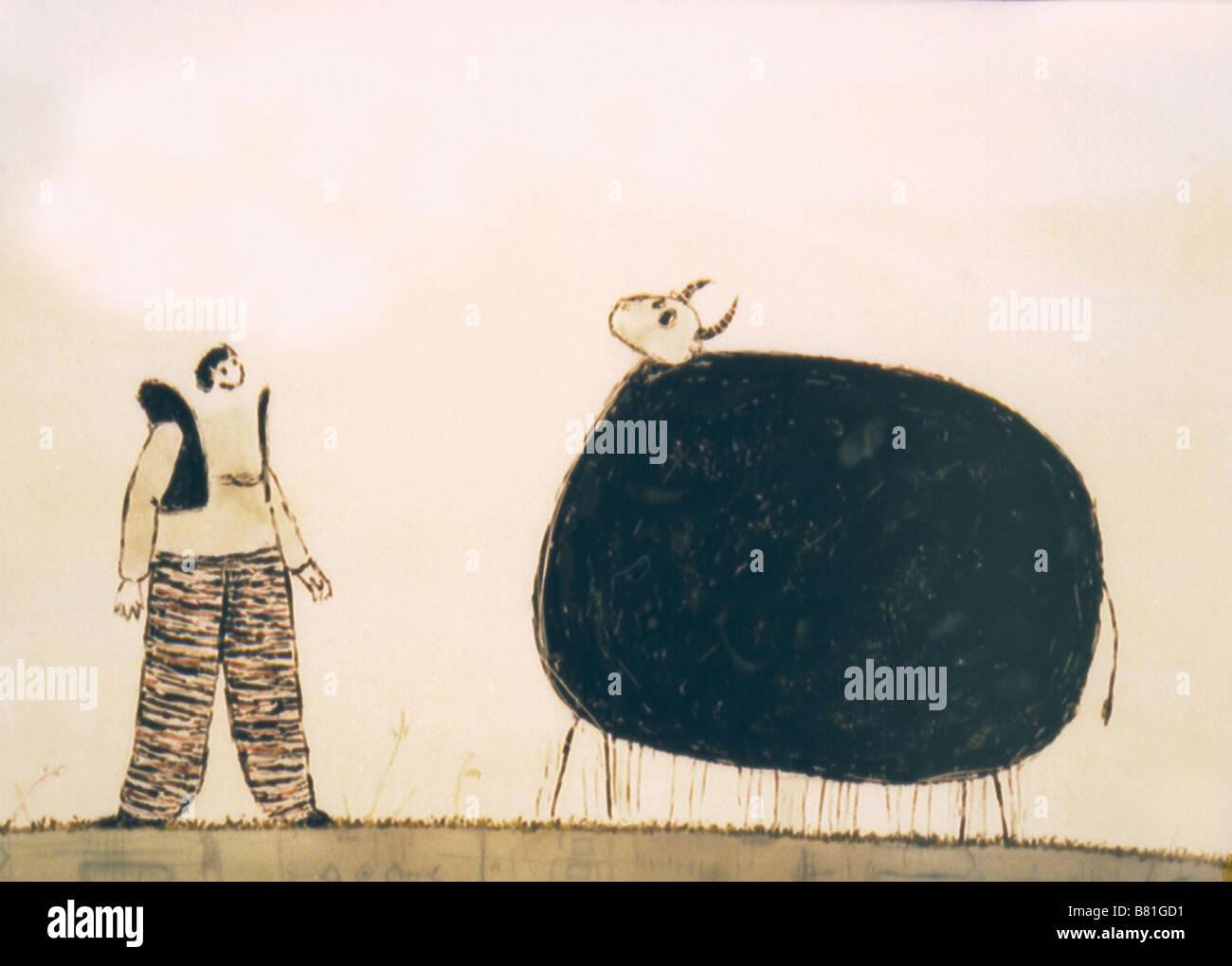 Contes Persans La vache et le fermier Keshavarz va Gav  Year: 2003 - Iran Director: Fatemeh Goudarzi Animation Stock Photo