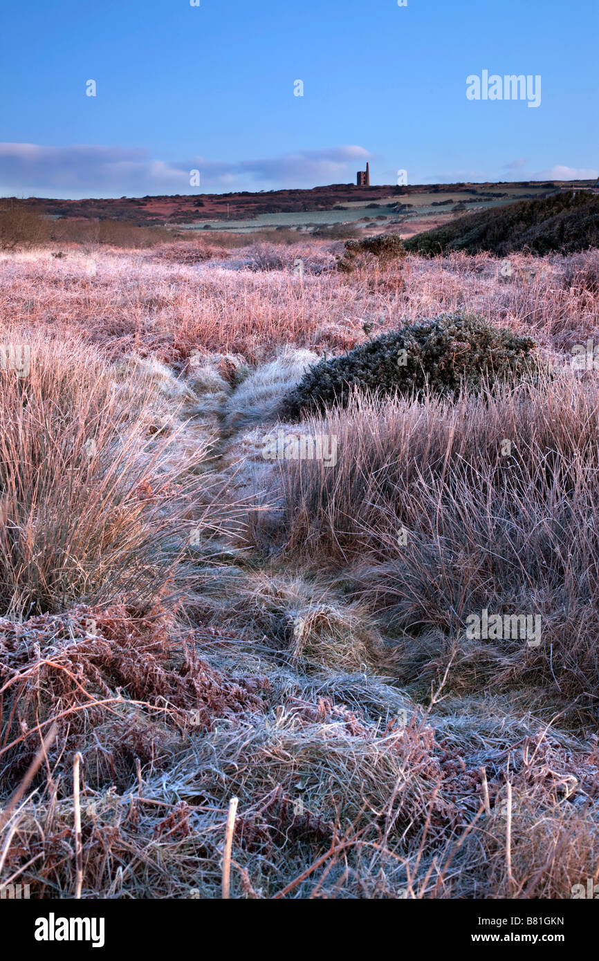 ding dong mine in frost cornwall - Stock Image