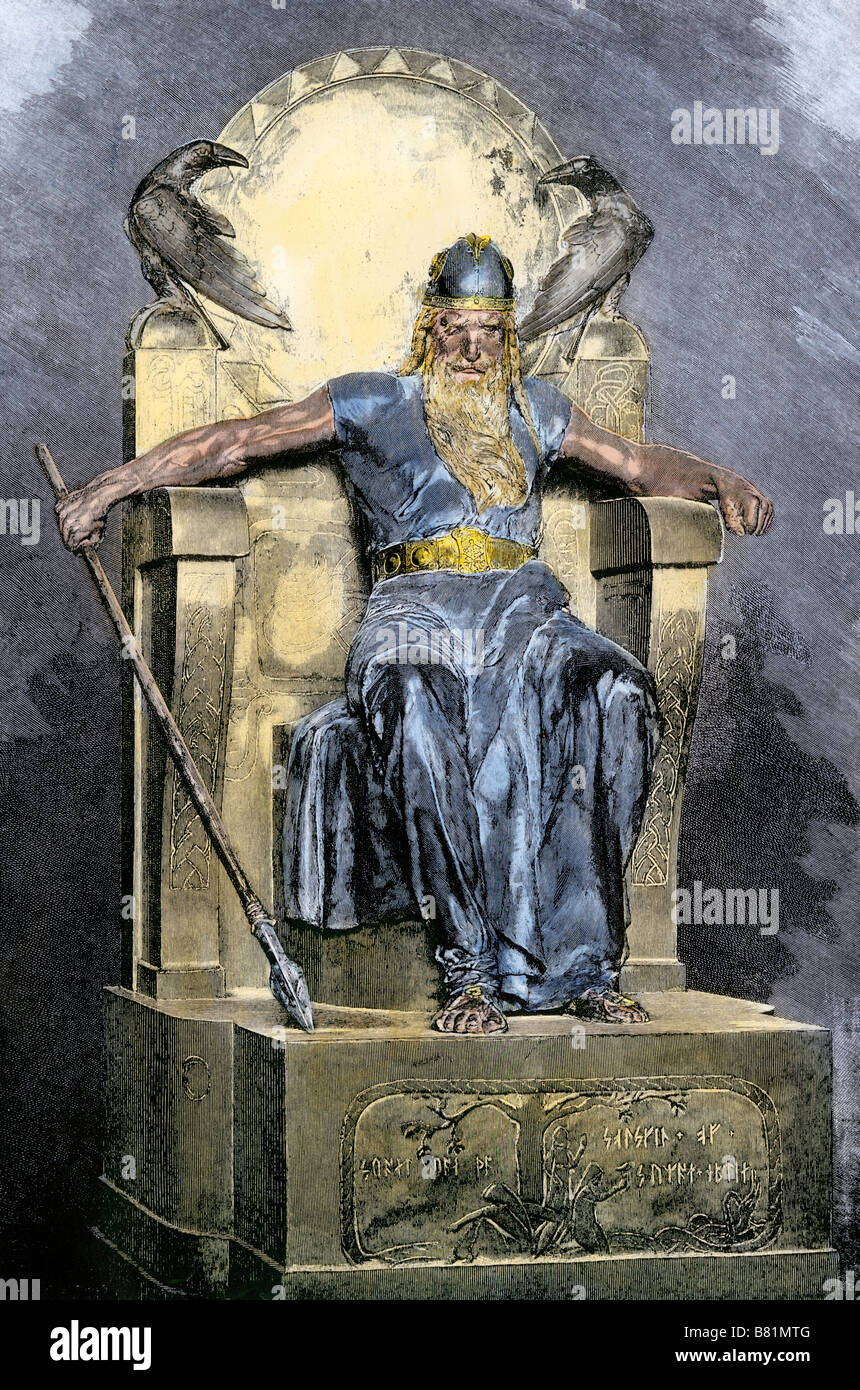 Odin, supreme god in Norse mythology. Hand-colored woodcut - Stock Image