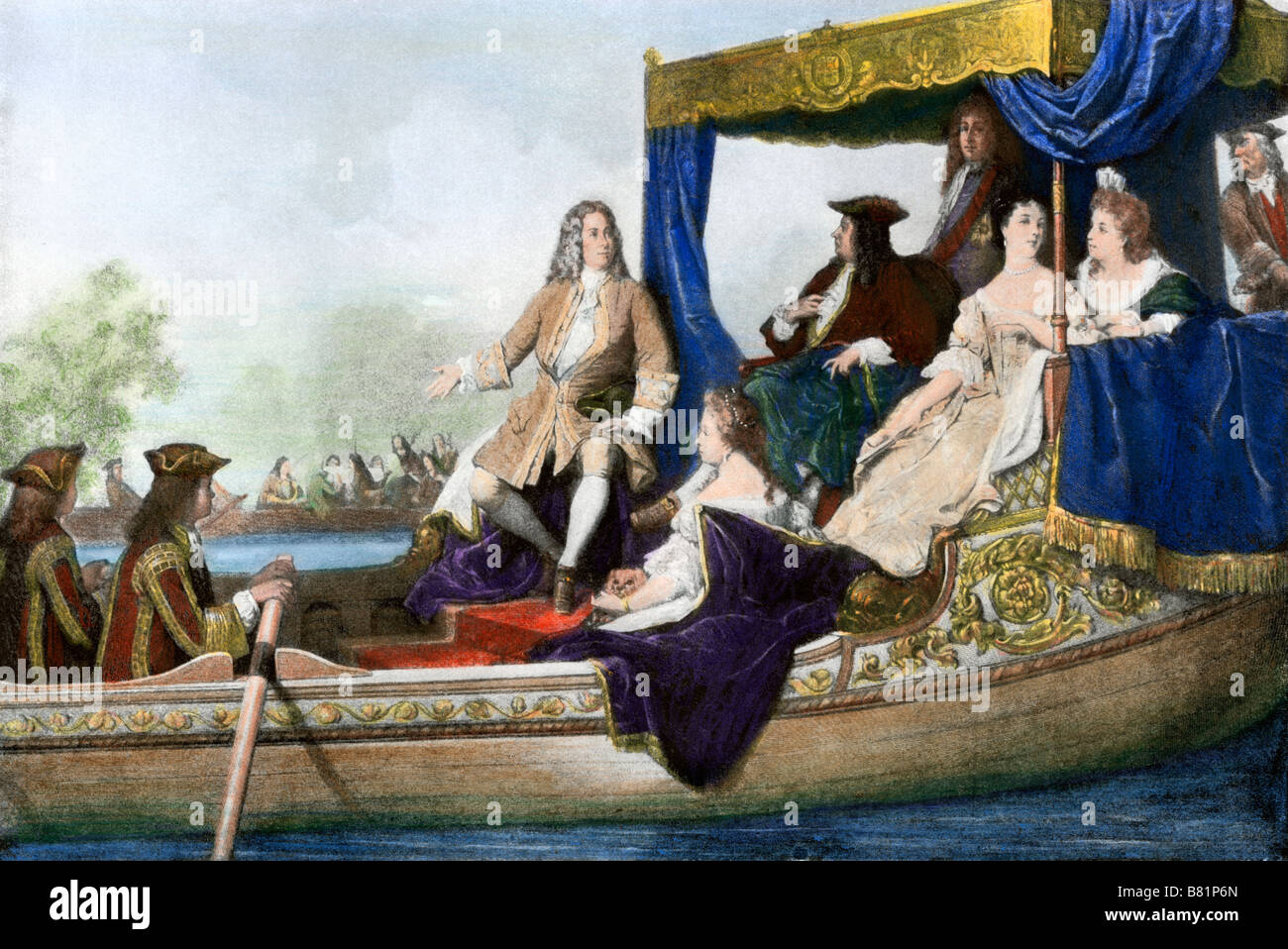 Handel's water music performed as a river concert for George I of England. Hand-colored halftone of an illustration - Stock Image