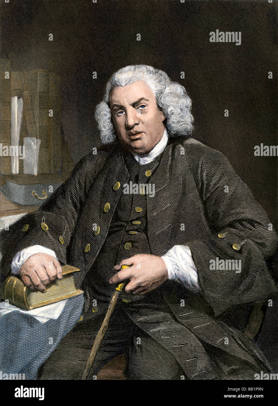 Samuel Johnson. Hand-colored steel engraving - Stock Image