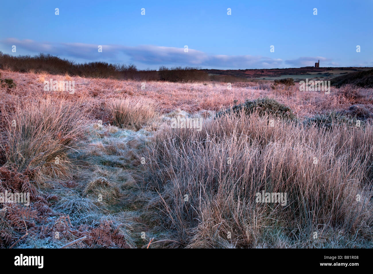 ding dong mine in frost winter cornwall - Stock Image