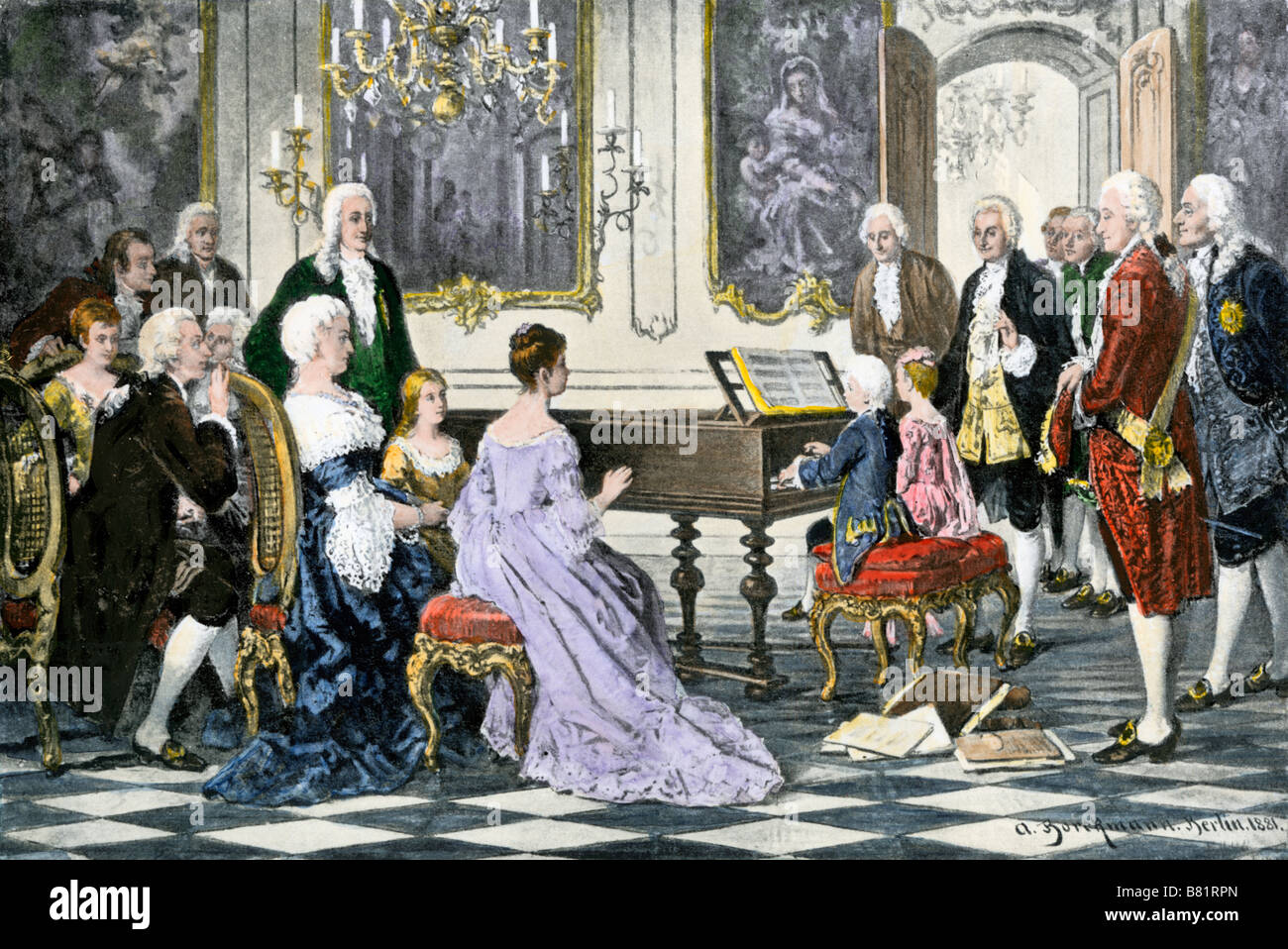 Young Mozart and his sister playing a duet for Empress Maria Theresa of Austria. Hand-colored halftone of an illustration - Stock Image