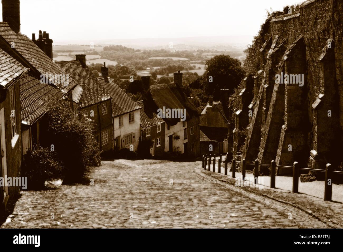 Gold Hill, Shaftesbury, Dorset - Stock Image