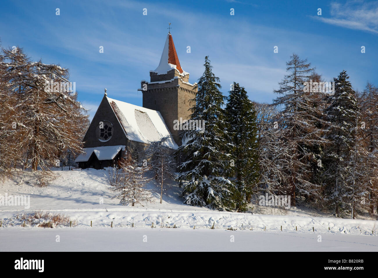 Winter Christmas Card Scene of Crathie Kirk or Church, in the Scottish village near Balmoral, Royal Deeside., Cairngorms - Stock Image